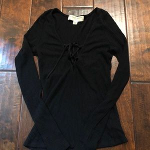 Project social t lace up Black long sleeve